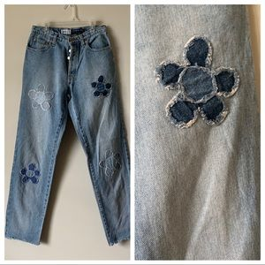 Vintage high waist button fly patchwork mom jeans